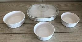 5 Pcs Corning Ware French White Casserole Dishes F-16-B F-24-B F-6-B Glass Lid - $48.37