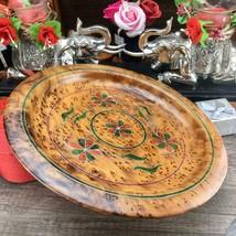 Decorative Thuya wooden dish plate, handmade ketchen floral pattern dish... - $94.05