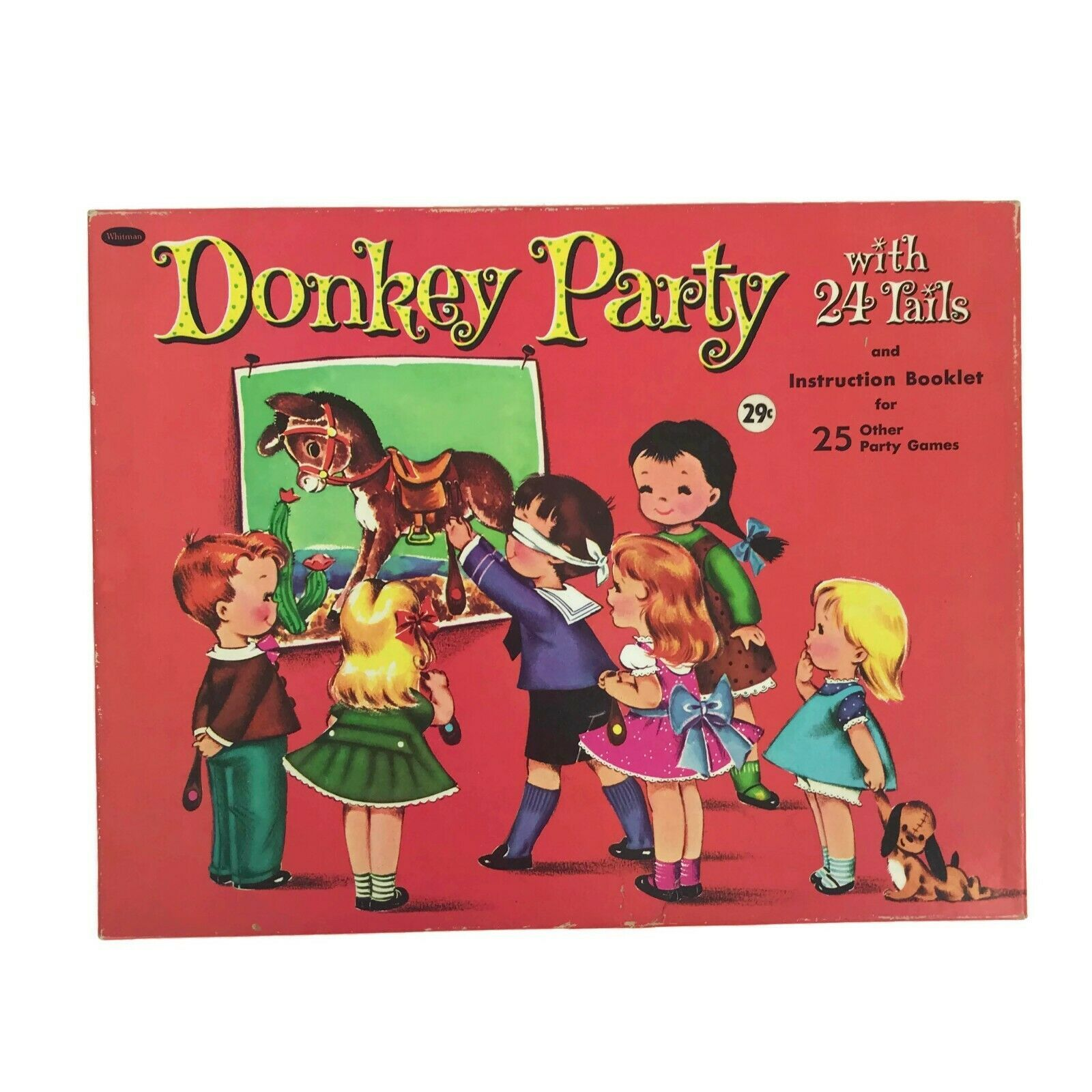 Vintage 1960s Whitman Donkey Party Birthday Pin the Tail on Donkey Game 24 Tails