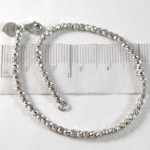 Bracelet en or Blanc 750 18K avec des Boules Sphères à Facettes Cœur Long 17 CM image 1