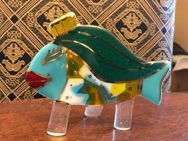 Handmade Sandy Wallin Fused Studio Art Glass Fish with 24K Gold Highlights - $99.95