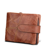 Her with coin pocket genuine crazy horse leather design male purse short guard against thumbtall