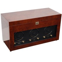 WOLF Savoy 2.7 Triple Watch Winder with Cover and Storage Burlwood 454710 - $1,499.00