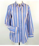 RALPH LAUREN Size 16W New Blue Pink Striped Shirt Button Down Top - $29.99