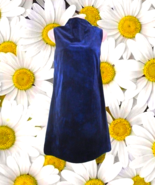 vintage mod blue velvet twiggy dress size small 6 short party 1960s cock... - $49.99
