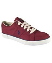"Polo Ralph Lauren BLUE LABEL ""HAROLD"" Men's Sneakers CANVAS BURGUNDY 11D NEW"