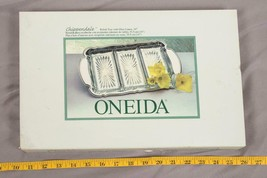 """Oneida Chippendale Relish Tray 14 3/4"""" Glass Silver Plated Box Appetizer tthc - $19.79"""