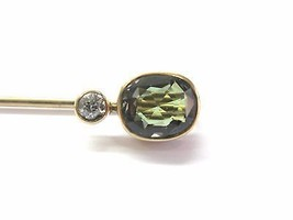 Vintage Old European Diamond Changing Color Sapphire Pin/Brooch Yellow G... - $609.84