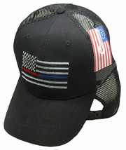 Black MESH USA Thin Red Blue Line Low Profile Hat Baseball Support Polic... - $21.77
