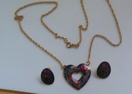 Vintage Avon Gold-tone Cloisonne Enamel Heart Necklace & Cloisonne Oval ... - $16.82
