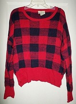 Denim & Supply Ralph Lauren Buffalo Plaid Top Sweater NWT $98 Misses XL - $33.85