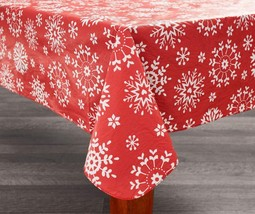 Traditions CollectionSnowflake Christmas Holiday Vinyl Tablecloth with ... - €25,09 EUR
