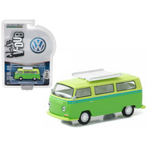 1968 Volkswagen Type 2 T2 Bus Green with Roof Rack 1/64 Diecast Model Car  by Gr - $12.46