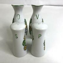 Vintage Cruet Set Salt Pepper Oil Vinegar White Green Yellow Floral - $29.69