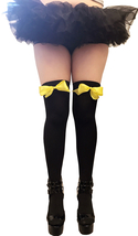 Envy Body Shop Women's Opaque Thigh Highs With Yellow Bow - $13.99