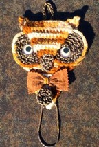 Owl UNIQUE Handmade Crocheted hanging Piece Yarn Felt Sewing Crafts - $3.94