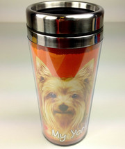 Yorkie Insulated Tumbler Travel Mug Coffee Thermos Dog Yorkshire Terrier - $12.50