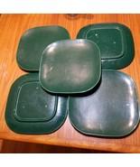 "5 Franciscan Tiempo Dark Green 9.75"" Dinner Plates Mid-Century Modern Square - $29.02"