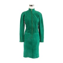 Green suede PIA RUCCI zip front long sleeve vintage sheath dress 6 - $149.99