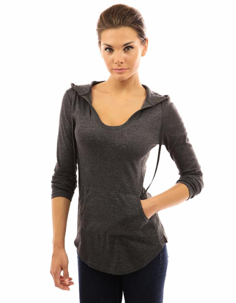 Primary image for PattyBoutik Size Large (L) Women's Hoodie Curve Hem Tunic Top Dark Heather Grey