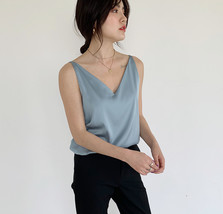 Silver Blue White Sleeveless Chiffon Tank V-Neck Sleeveless Chiffon Casual Tops image 5