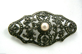 Art Deco Sterling Silver Marcasite White Pearl Pin Brooch Signed Germany... - $114.84