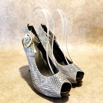 Guees Womens Haileey 4 Sz 7 M Black White Peep Toe Snakeskin Platform Pumps - $29.99