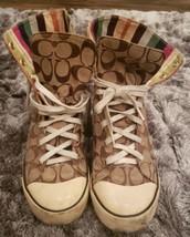 Coach Bonney Sneakers Hi Top Brown Gold Canvas Women's Size 8.5 B - $37.39