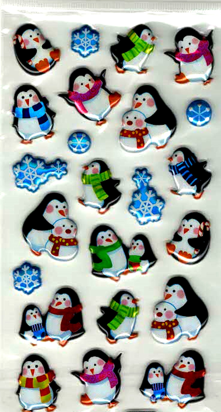 penguins 3d puffy design sheet of peel off stickers  ideal cards, papercraft,