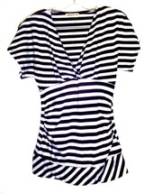 Sz S - Forever Black & White w/Gold Sparkle Striped Cap Sleeve Tunic Top - $23.74