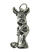 Moose Golfing Playing Golf player Charm Pendant Jewelry Sterling silver ... - $16.82