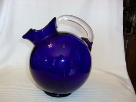 "Cobalt Blue Glass Pitcher With Ice Guard, Clear Handle 9"" Tall - $59.40"
