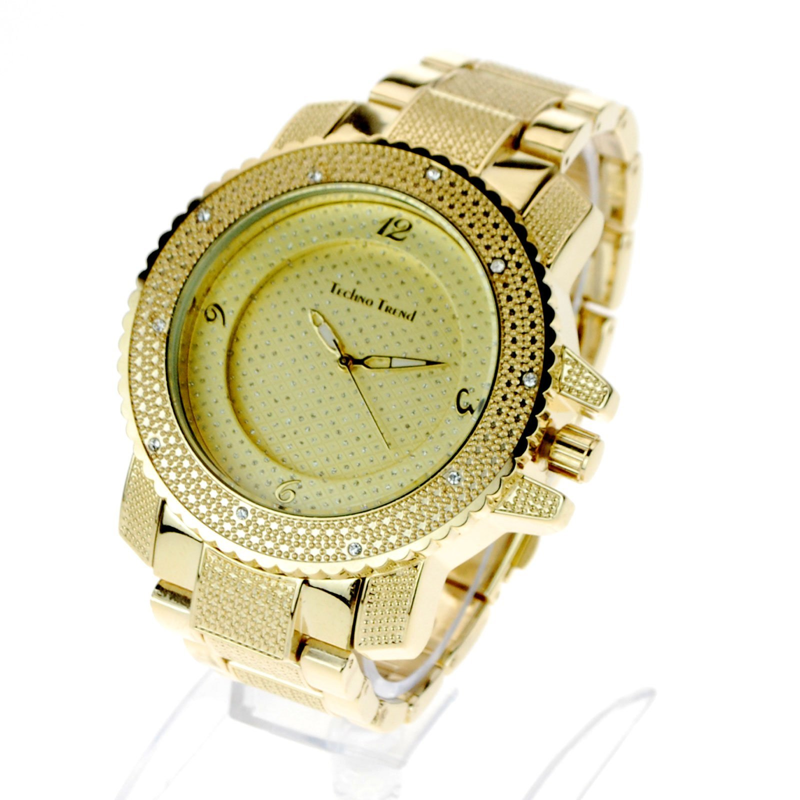 72f7b57eb55e Techno Mens Hip Hop Iced Out Luxury Baller Diamond Bezel Analog Wristwatch  Gold