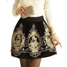 Retro Embroidered Black Women Tulle Skirt - $21.01