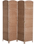 NEW 6 Tall Wicker Weave 4 Panel Room Divider Privacy Screen - $112.09