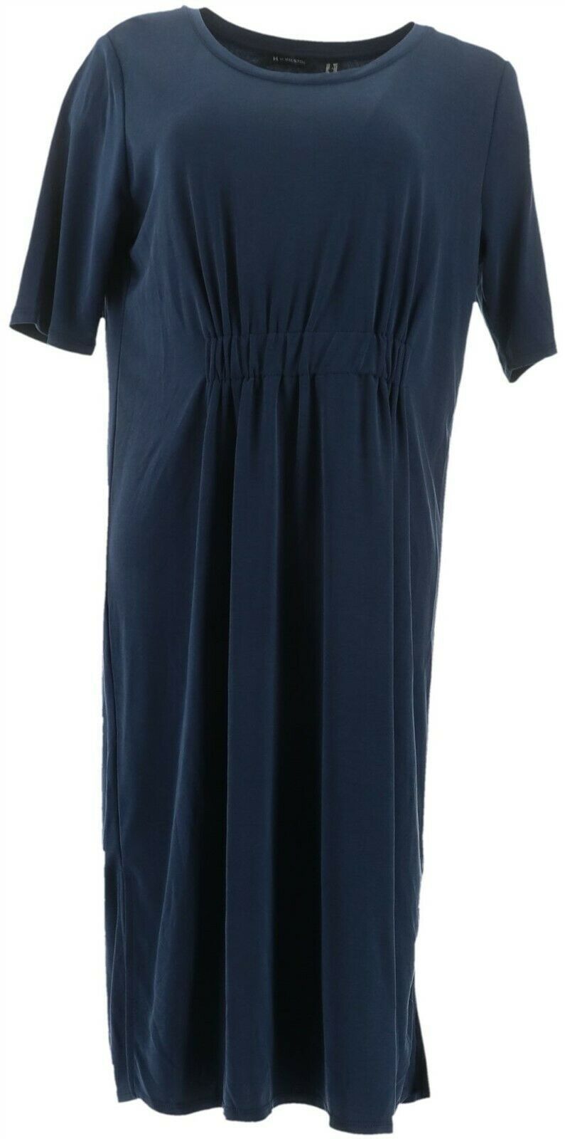Primary image for H Halston Petite Ruched Waist Elbow-Sleeve Midi Dress Navy PXXS NEW A351205