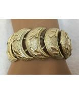 "Bracelet J Coro Half Moon Crescent Links Gold Tone Metal Vintage 7"" Chai... - $18.76"