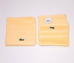 "LACOSTE Croc Logo BRIGHT YELLOW Set of 2 WASH Terry CLOTHS 13""x13"" Free ... - £49.60 GBP"