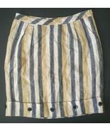 Anthropologie Edme & Esyllte Linen Skirt 4 Striped Cafe Awning Button Po... - $19.79