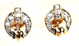 Authentic NINA RICCI Gold Tone W/ Crystal Clip on Earrings Ear Ring Good Condion - $69.30