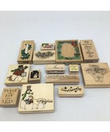 Lot of 14 Wooden Rubber Stamps- Assorted Sizes- Christmas & Holiday Them... - $23.36
