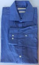 Michael Kors Men Dress Shirt Blue white Stripe 16.5 L Sleeve Cotton - $25.55
