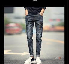 2018 Spring and Summer Men's Jeans Pants Slim Patch Pencil Trousers Cool Men Fas - $33.66