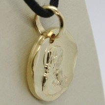 SOLID 18K YELLOW GOLD VIRGIN MARY AND JESUS 14 MM MEDAL, PENDANT, MADE IN ITALY image 2