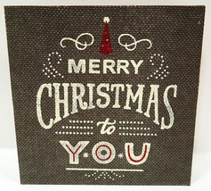 HALLMARK - RUSTIC - VINTAGE - MERRY - CHRISTMAS - BURLAP - WOOD - SIGN -... - $3.59