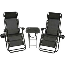 Folding Beach Chairs with Side Table Black Set of Two Reclining Lounge C... - $167.16