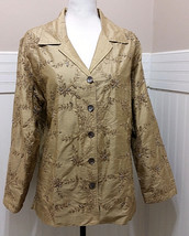 LAURA ASHLEY Silk Blazer Lined Jacket Womens Large Champagne Embroidered... - $23.70
