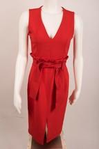 Zara Women's Top Stitch Tube Dress Belt Small Red V-Neck 1639/155 Sleeve... - $59.39