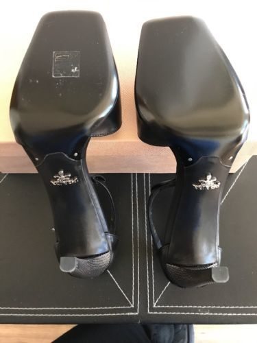 New AUTH Prada T- Strap Black / Silver Heel EU SZ 39 $795