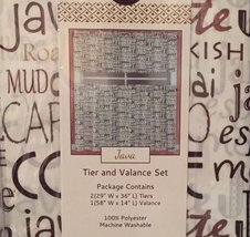 Java Coffee Mocha Typography 36L Tier Valance Set Kitchen Curtains - $24.95